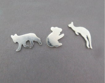 Sterling Silver Mismatched Earrings, Koala Earrings, Kangaroo Earrings, Dingo Earrings, Silver Animal, Mix and Match, Made to Order