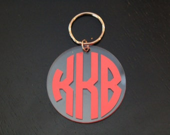 Custom Circle Monogram Keychain