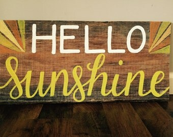 Hand Painted Hello Sunshine Rustic Reclaimed Wood Sign