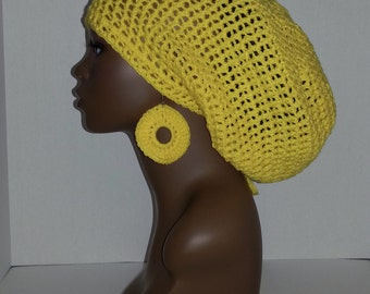 Crochet Tam with Drawstring and Earrings, Large Rasta Tam - Yellow Large Slouch Hat and Earrings Set, Yellow Dreadlock Tam and Earrings