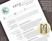 Resume Template and Cover Letter Template | Professional Creative Modern Resume Template | WORD | Mac + PC | DIY 4 pk | Cv Template | Ab
