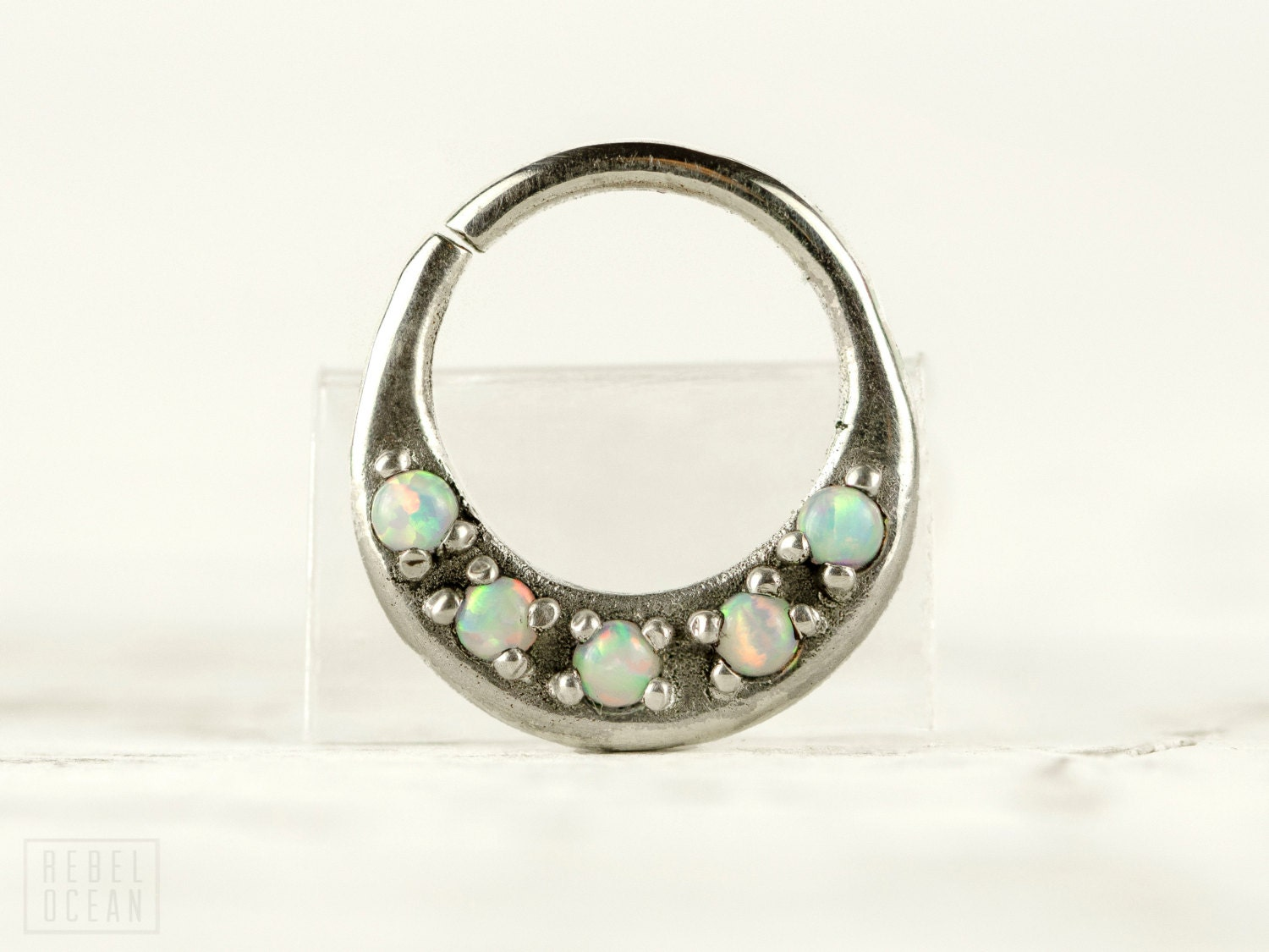 septum ring nose ring septum jewelry light blue opal