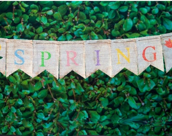 Spring Burlap Banner, Spring Burlap Decor, Spring Banner, Spring Garland, Spring Bunting, B189