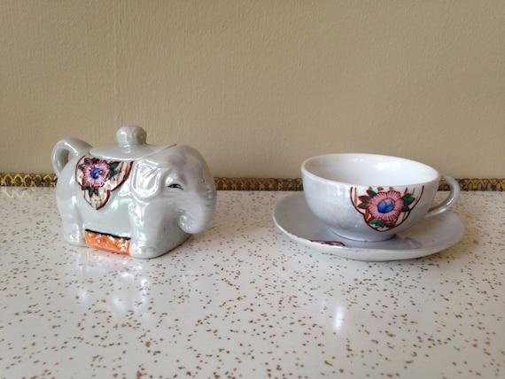 Elephant sugar bowl and teacup saucer set made in Japan