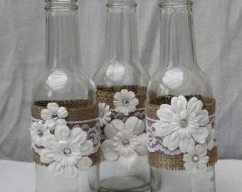 Burlap and Lace Upcycled Posey Vases