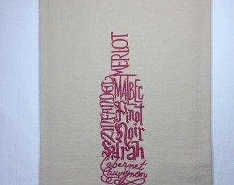 Wine tea towel, tea towel embroidered, custom embroidered, tea towel flour sack, embroidered kitchen towel-Made to order