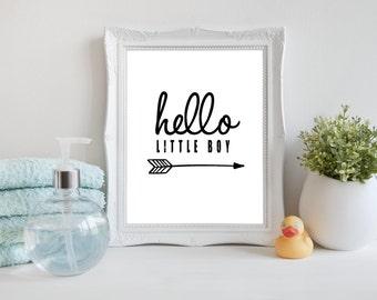 Hello little Boy art print, Printable Hello Wall Art, Modern Nursery Art Print, Black and White digital art, Instant download (BabyArt X7)