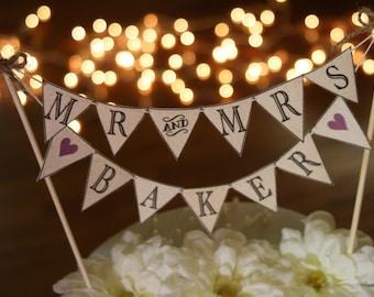 Wedding Cake BANNER Wedding Cake Topper Mr and Mrs Rustic Wedding Topper