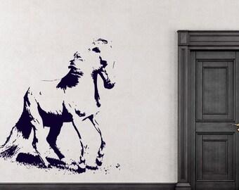 Horse Mustang Decal Sticker Nursery Stylish Fashion Zoo Wild Life Nature Wild Animals Decor Wall Decal Art Vinyl Sticker tr680