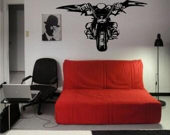 Wall Vinyl Sticker Decals Art Mural Devil Evil Bike Chopper Motorcycle Stunt Racing M554