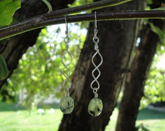 Sterling Silver and Prehnite Earrings