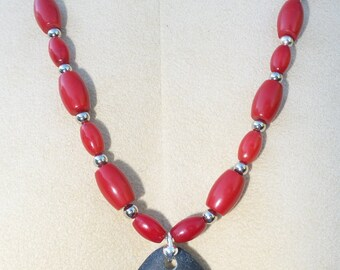Oregon River Rock & Red Coral Necklace with Hand Carved Musical Note