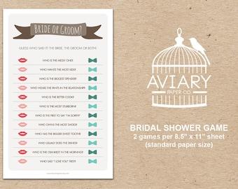 Bridal Shower Game - Bride or Groom / He Said She Said Game