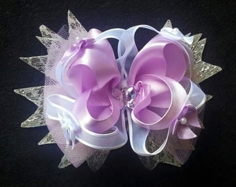 Purple and White Stacked Hair Bow