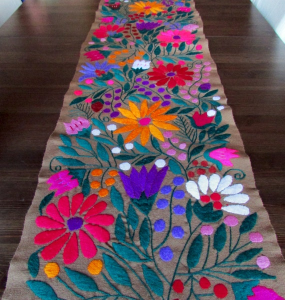 Table Runner brown color Mexican Textile Hand by ...
