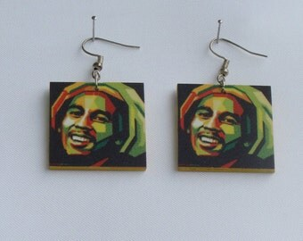 Earrings with Bob Marley Picture