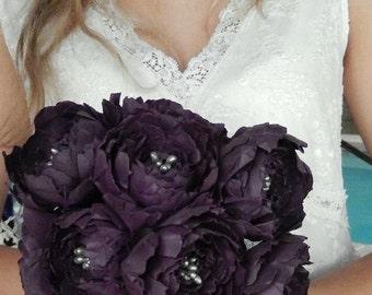 Paper Peony Wedding Bouquet - Eggplant Wedding Flowers - Aubergine Bridal Bouquet - Peony Bouquet -  Paper Peonies - Custom Colors Available