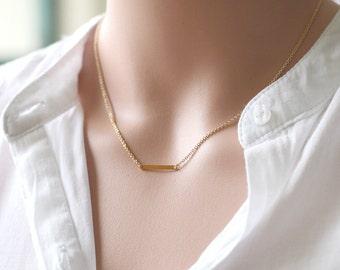tiny raw brass bar necklace, minimalist necklace jewelry  bridesmaid gifts, birthday, wedding jewelry