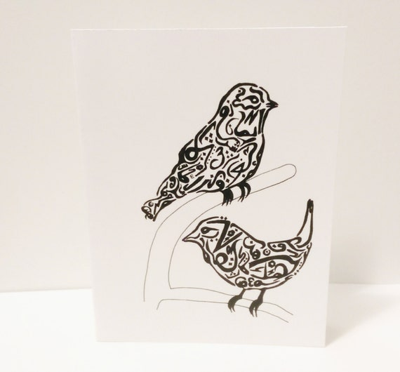 Birds Cards Arabic Calligraphy Any Occasion Set Blank Inside