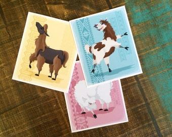 Colorful Llama Trio print set