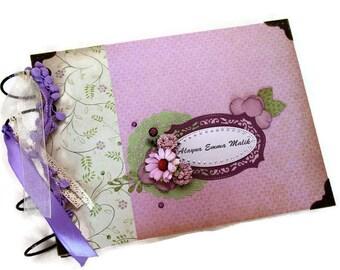 Baby Girl Scrapbook Album - Baby Memory Book - Baby Keepsake Book - Best Newborn Gift - Purple Scrapbook Album - Vintage Style Photo Album