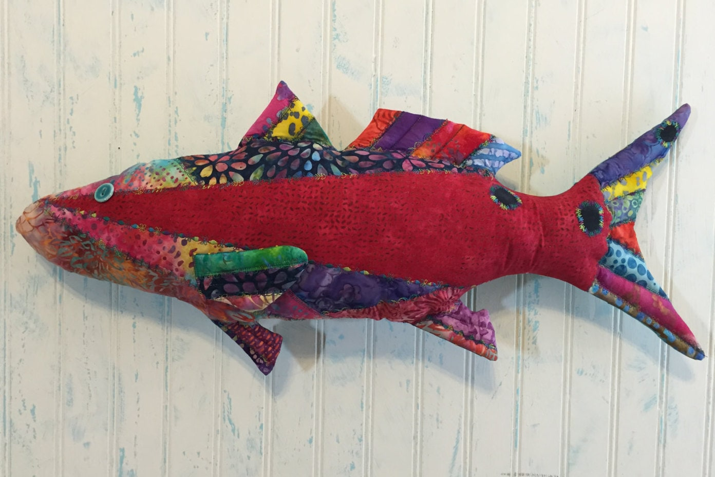 Pillow fish art redfish rf015 is a large 26x11 for Fish shaped pillow