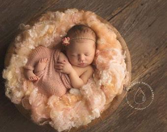 Creamsicle Fairytale Fluff - hand dyed loose wool curls and mulberry silk fiber - newborn photo prop - basket stuffer