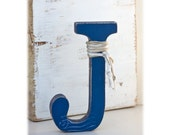Rustic Decorative Letter J: Stand alone - Nursery Letter Boy - Nautical Wedding Cake Topper Letter - Beach Wedding Centerpiece - Gift Ideas