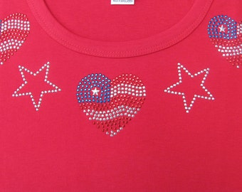 USA Hearts and Stars Red, White, Blue