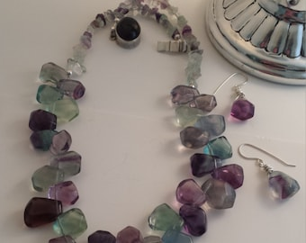 Rainbow Fluorite Necklace Set Bold Statement Gemstone Jewelry Purple Green Blue Sterling Amethyst Clasp Faceted Women Gift for Her lgbstyles