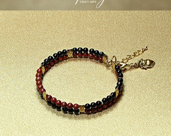 Gemstone Black Banded Agate bracelet, Red Jasper bracelet, Clasp Bracelet with clip-on charm, Protection bracelet, InfinityCraftArts