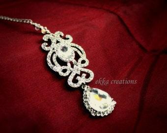 Silver Tikka Headpiece/Crystal Maang Tikka Head piece/Indian Bridal Tikka/Authentic Indian Tikka forehead jewelry/hijab jewelry