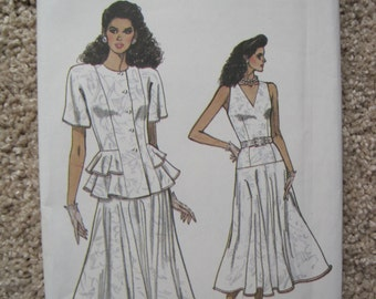 UNCUT Vogue Misses Jacket and Dress - Size 8 to 12 - Sewing Pattern 9942 - Vintage 1987