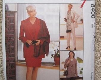 UNCUT Misses Jacket, Vest, Skirt, Pants and Scarf - McCalls Pattern 8400