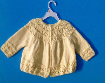 knit baby cardigan, yellow cardigan, lace knit cardigan, baby jacket, vintage style cardigan, baby shower gift, baby knitwear, wool cardigan