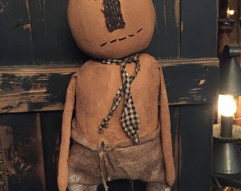 Very Primitive Pumpkin Doll on Wooden Base