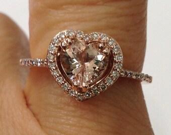 14K Rose Gold Diamond Halo Heart Shaped Morganite Ring Pink Gold - Size 7