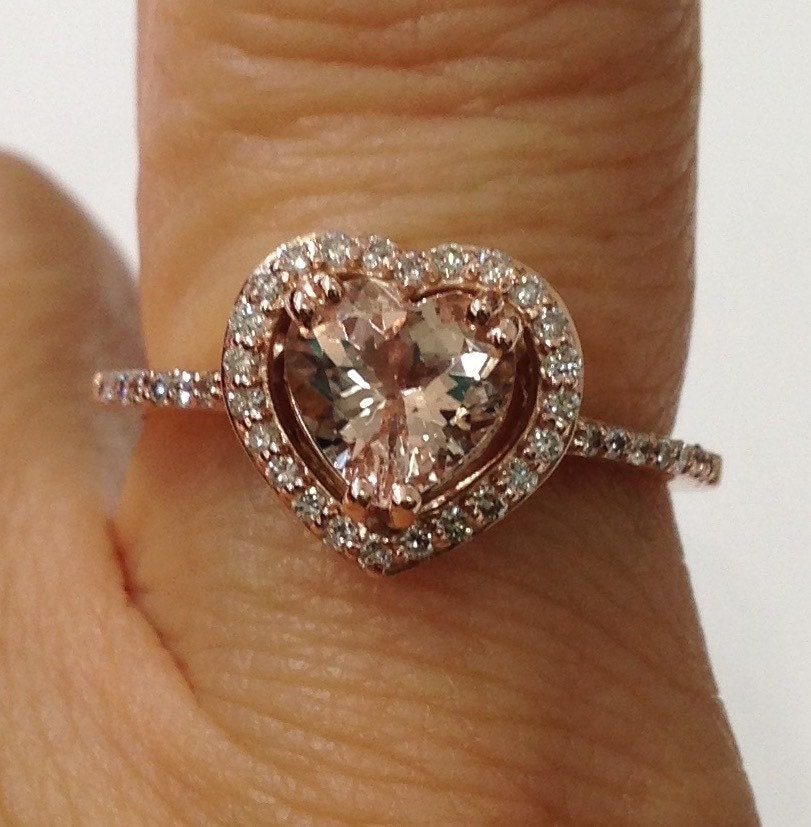 14K Rose Gold Diamond Halo Heart Shaped Morganite Ring Pink by LuxinelleJewel