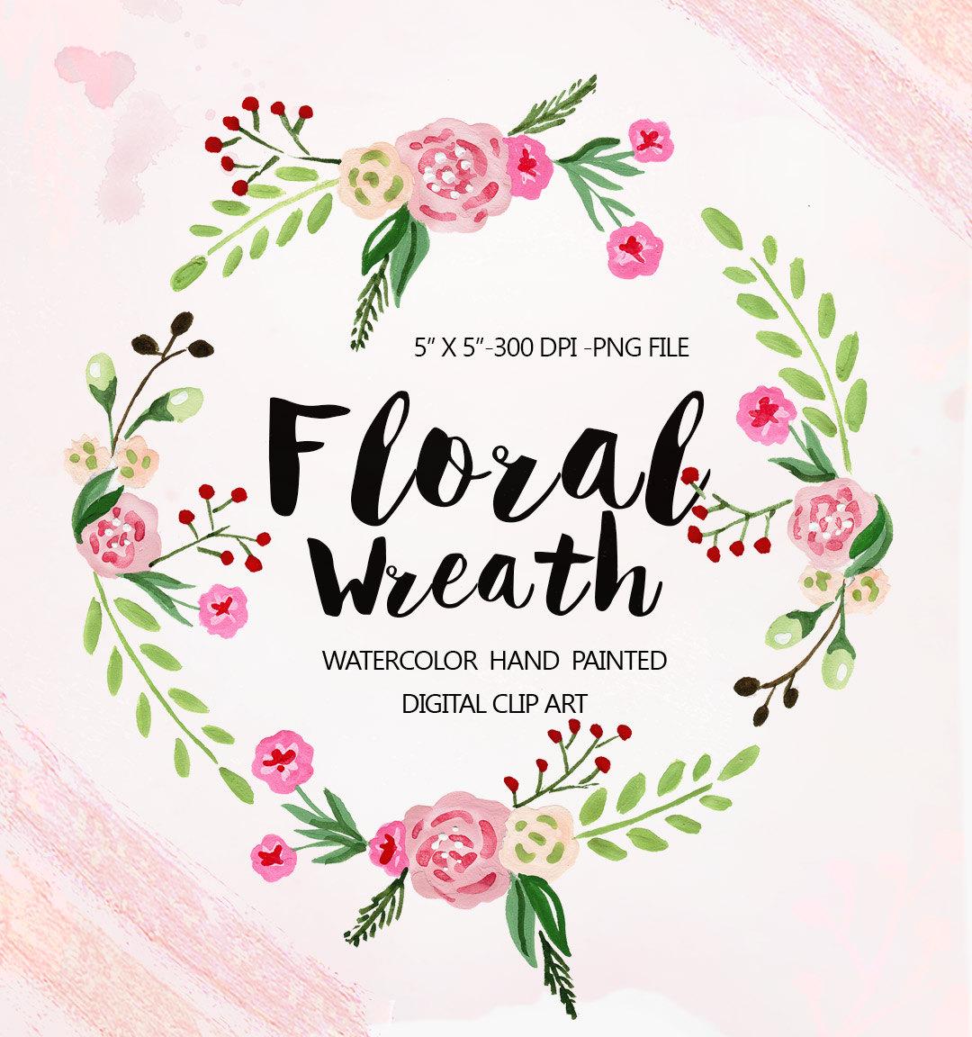 Watercolor Floral Wreath clipart floral Clip art Flowers