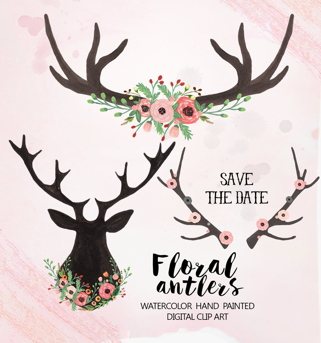 Watercolor Floral antlers Clipart Wedding floral Clip art