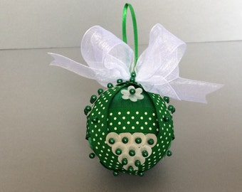 Green & White Sequin Christmas Ornament