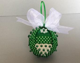 Green & White Sequin Christmas Ornament