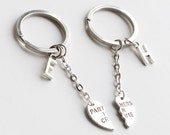 PARTNERS IN CRIME Keychain, initials friendship Keychain set, best friends, best bitches, broken heart set, sisters gift , 2 set on sale