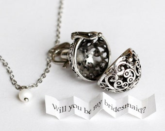 Antique Silver Ball Locket Secret Message Necklace, Personalized custom message, make a wish, wedding, bridesmaid, Boyfriend Girlfriend Gift