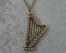 Harp Necklace SMALL Harp Pendant Classical Music Jewelry Brass Necklace Music Teacher Gift Harpist Gift Harp Gift Musician Gift Harp Jewelry