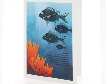 Tāmure illustration. A6 greeting card with envelope – New Zealand native fish series.