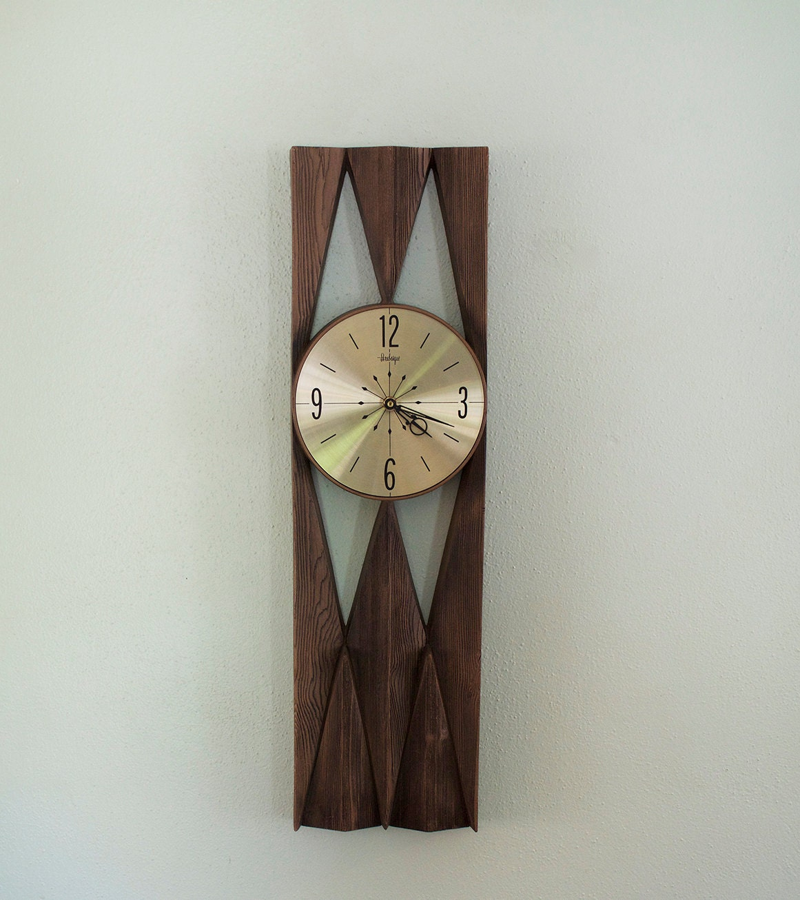 mid century modern arabesque wall clock burwood products