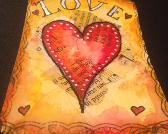 Original Painting ATC ACEO Art Card Artist Trading Card - LOVE - Made to Order