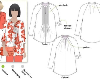 Faith Woven Top - Sizes 10, 12, 14 - Women's Sewing Pattern - Blouse / Top / Shirt Pattern by Style Arc