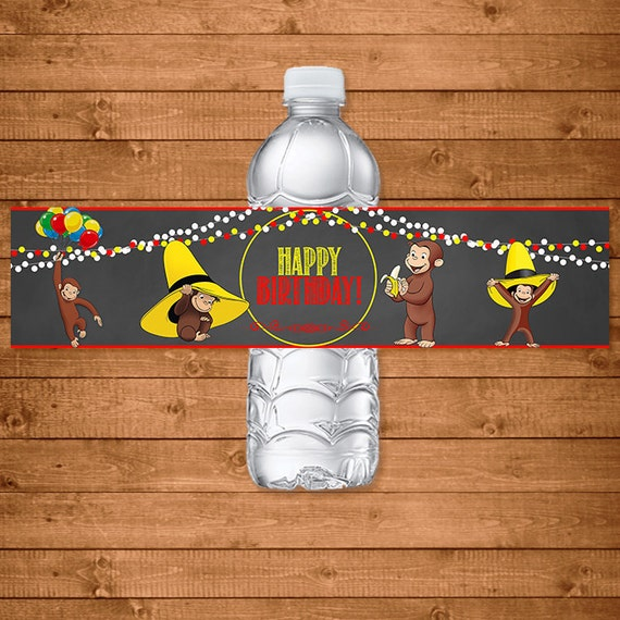 Curious George Drink Labels Chalkboard Theme -- Curious George Water Bottle Labels -- Curious George Birthday - Curious George Printables